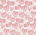 Seamless Texture With Red Contours Of The Doodle Hearts Royalty Free Stock Image - 65075996
