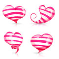 Set Of Volume, Glossy, Shining 3d Hearts Pink Stock Photo - 65077820