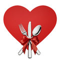 Valentine Silverware On Red Heart Shape Design Element Isolated Royalty Free Stock Images - 65081169