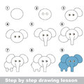 Drawing Tutorial. How To Draw A Elephant Royalty Free Stock Image - 65084336
