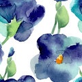 Watercolor Of Violet Flowers Seamless Pattern Royalty Free Stock Photo - 65093135