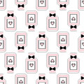 Seamless Beauty Pattern Of Perfume Bottles With Bows And Hearts. Royalty Free Stock Image - 65096036