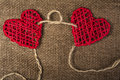 Two Hearts On Burlap Background. Wedding Love Concept Royalty Free Stock Photography - 65098337
