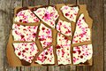 Chocolate Bark With Candy Heart Sprinkles Over Rustic Wood Royalty Free Stock Photo - 65106845