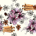 Seamless Vector Pattern With Flowers And Anise Stars Stock Images - 65110954