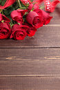 Valentine Roses With Red Ribbon, Copy Space Royalty Free Stock Photo - 65113315
