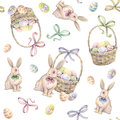 Rabbit With Easter Basket On A White Background. Color Easter Eggs. Watercolor Drawing. Handwork. Seamless Pattern Royalty Free Stock Photography - 65134457