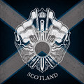 White Coat Of Arms With Circle Frame And Vintage Weapons On Scotland Flag Background Stock Images - 65137614