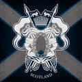 White Coat Of Arms With Oval Frame And Vintage Weapons On Scotland Flag Background Royalty Free Stock Photo - 65137635