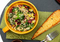 Quinoa Spinach Cranberry Salad And Garlic Toast On Table. Stock Photography - 65137662