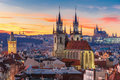 Aerial View Over Old Town At Sunset, Prague Royalty Free Stock Photography - 65140087
