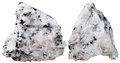 Two Pieces Of Diorite Mineral Stone Isolated Stock Images - 65140524