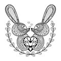 Hand Drawn Lovely Rabbit For St. Valentine S Day In Doodle, Zent Stock Images - 65143404