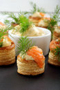 Appetizer Puff Pastry With Dill Dip And Salmon On Stone Tray Stock Images - 65144924