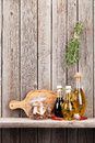 Kitchen Utensils, Herbs And Spices On Shelf Stock Image - 65178101