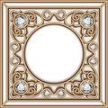 Gold Jewelry Circle Frame Stock Image - 65184271