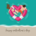 Romantic Couple In A Floating Heart Shaped Life Buoy Royalty Free Stock Images - 65185839