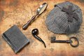 Overhead View Of Sherlock Hat And Detective Tools On Map Stock Photos - 65187313
