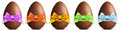 Chocolate Easter Eggs With Ribbon Bow On White Background Royalty Free Stock Images - 65187759