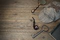 Sherlock Holmes Concept. Private Detective Tools On The Wood Tab Royalty Free Stock Photo - 65190425