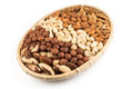 Mix Nuts In Wicker Basket Royalty Free Stock Photos - 65197908