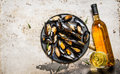 Clams On A Tray With Wine. On Rustic Background. Royalty Free Stock Photos - 65215928