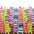 Old Little Town Background With Multicolor Buildings. Cute Little Houses. Retro Backdrop Royalty Free Stock Image - 65221206