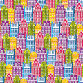 Seamless Pattern With Houses. Tile Little Town Pastel Background. Wrapping Paper Texture With Multicolor Buildings.  Royalty Free Stock Photos - 65224348