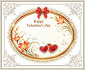 Beautiful Background With Hearts And Lilies With A Red Bow On Valentine S Day Royalty Free Stock Image - 65227666