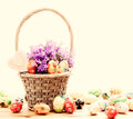 Colorful Hand Painted Easter Eggs In Basket And On Wood. Handmade Vintage Decoration Royalty Free Stock Image - 65235956