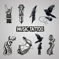 Music Tattoo Collection Royalty Free Stock Images - 65242339