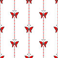 Seamless Vector Pattern With Insects, Symmetrical Geometric Red Background With Butterflies Royalty Free Stock Image - 65242606