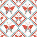 Seamless Vector Pattern With Insects, Symmetrical Geometric Red Background With Butterflies. Decorative Repeating Ornament Royalty Free Stock Images - 65243439