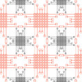Seamless Vector Pattern. Symmetrical Geometric Background With Red And Black Squares And Lines. Decorative Repeating Ornament Stock Photos - 65247873