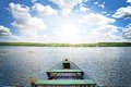 Mystical Landscape With Lonely Boat On The Pond On The Backgroun Stock Image - 65253351