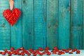 Red Heart On Wooden Background. Royalty Free Stock Image - 65280126