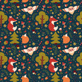 Forest Seamless Pattern. Vector Background. Royalty Free Stock Images - 65282699