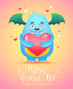 Cartoon Monster With A Heart Valentine Card Stock Photo - 65287390
