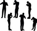 EPS 10 Vector Illustration In Silhouette Of Businessman Standing Eating Stock Photography - 65293162