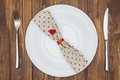 Valentine S Day Dinner Setting, Knife, Fork, Napkin And Plate Royalty Free Stock Image - 65297356