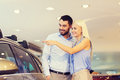 Happy Couple Buying Car In Auto Show Or Salon Stock Image - 65303481