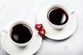 Two Cups Of Coffee And Heart Shaped Sweets Royalty Free Stock Photo - 65311615