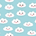 Kawaii Funny White Clouds Set, Muzzle With Pink Stock Image - 65344471