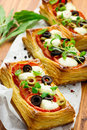 Puff Pastry With Tomatoes And Mozzarella Stock Photography - 65351702