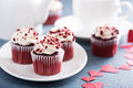 Red Velvet Cupcakes For Valentines Day Stock Photo - 65363390