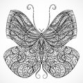 Vintage Butterfly With Floral Abstract Ornament. Black And White Vector Stock Photo - 65366730