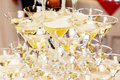 Pyramid Of Glasses With Champagne Close Up Royalty Free Stock Image - 65367426
