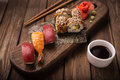 Sushi Set On A Wooden Tray Royalty Free Stock Photos - 65368188
