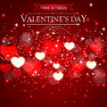 Abstract Valentines Day Card With Blurred Hearts And Sparkles Stock Photo - 65372580