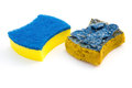 New & Old Double-side Cleaning Sponge Onwhite Background Stock Photo - 65395030